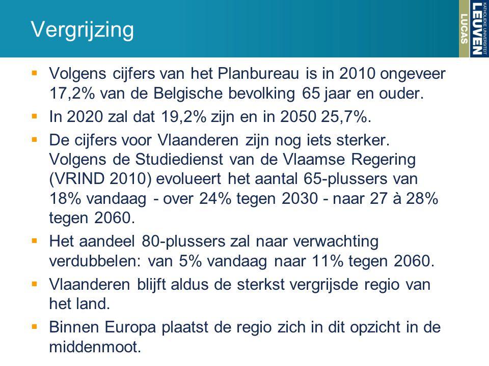  Volgens cijfers van het Planbureau is in 2010 ongeveer 17,2% van de Belgische bevolking 65 jaar en ouder.  In 2020 zal dat 19,2% zijn en in 2050 25