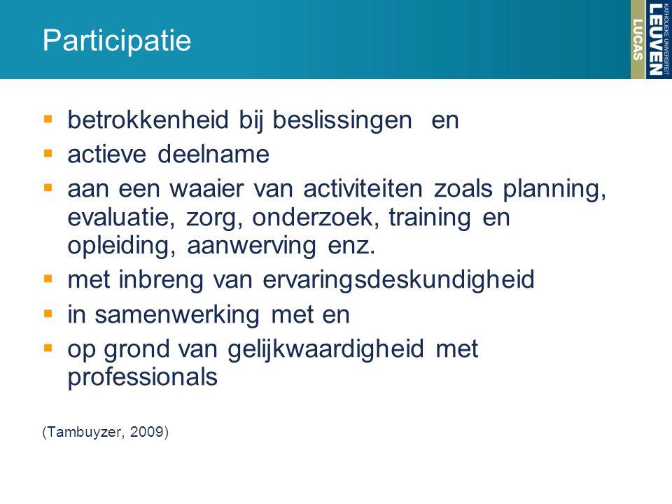  betrokkenheid bij beslissingen en  actieve deelname  aan een waaier van activiteiten zoals planning, evaluatie, zorg, onderzoek, training en oplei