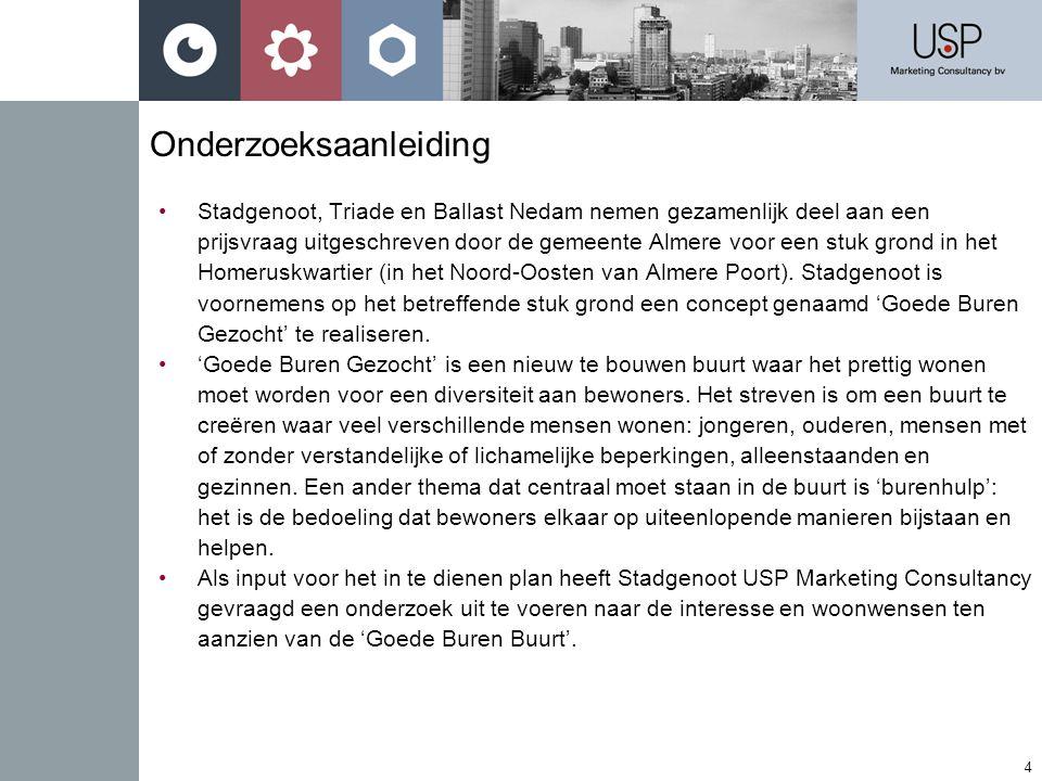 4 Onderzoeksaanleiding •Stadgenoot, Triade en Ballast Nedam nemen gezamenlijk deel aan een prijsvraag uitgeschreven door de gemeente Almere voor een stuk grond in het Homeruskwartier (in het Noord-Oosten van Almere Poort).