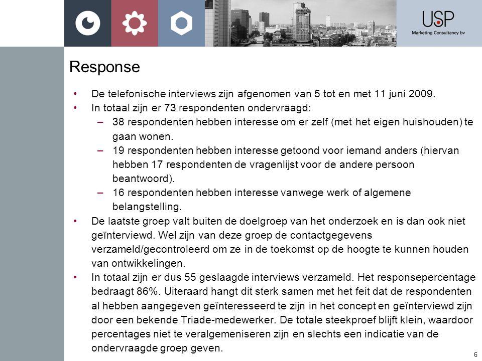 6 Response •De telefonische interviews zijn afgenomen van 5 tot en met 11 juni 2009.