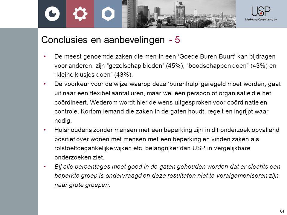 64 Conclusies en aanbevelingen - 5 •De meest genoemde zaken die men in een 'Goede Buren Buurt' kan bijdragen voor anderen, zijn gezelschap bieden (45%), boodschappen doen (43%) en kleine klusjes doen (43%).