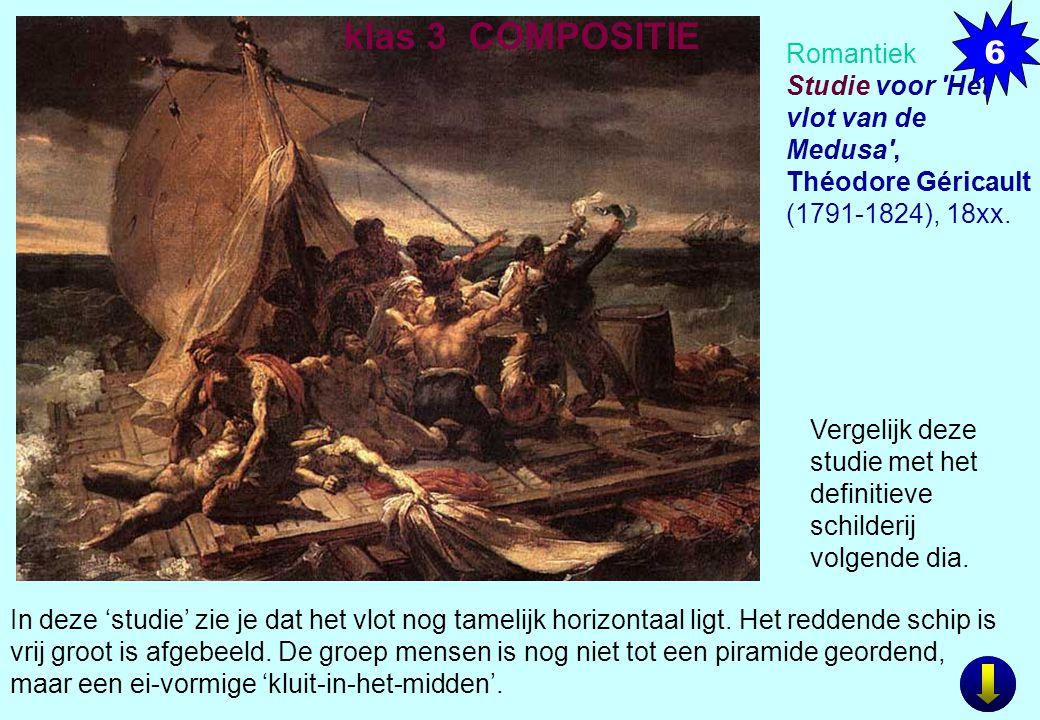 Romantiek Studie voor 'Het vlot van de Medusa', Théodore Géricault (1791-1824), 18xx. In deze 'studie' zie je dat het vlot nog tamelijk horizontaal li