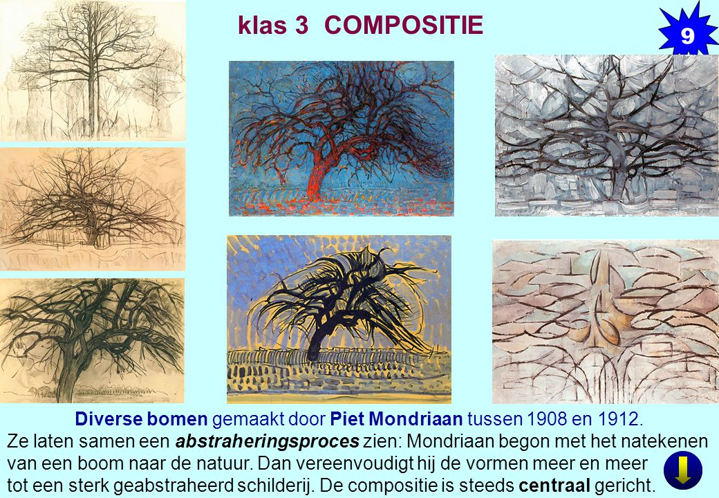 Diverse bomen gemaakt door Piet Mondriaan tussen 1908 en 1912. Ze laten samen een abstraheringsproces zien: Mondriaan begon met het natekenen van een