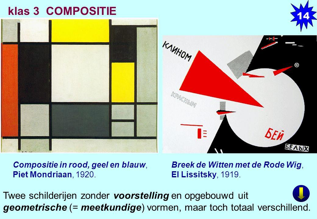 Compositie in rood, geel en blauw, Piet Mondriaan, 1920. Breek de Witten met de Rode Wig, El Lissitsky, 1919. Twee schilderijen zonder voorstelling en
