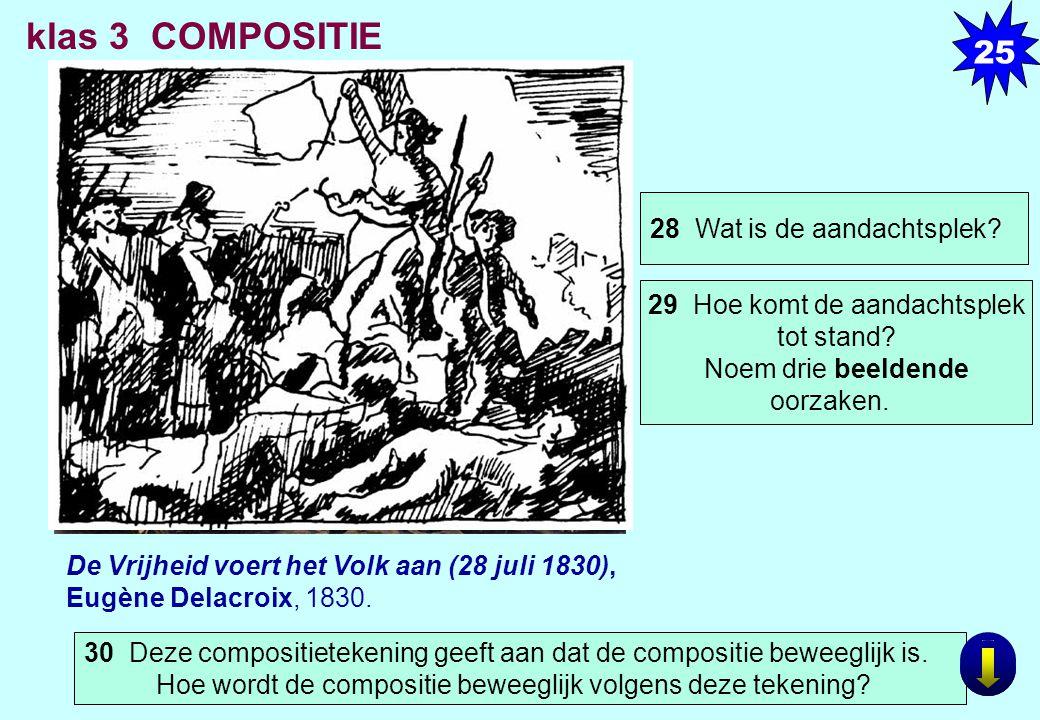 De Vrijheid voert het Volk aan (28 juli 1830), Eugène Delacroix, 1830. klas 3 COMPOSITIE 30 Deze compositietekening geeft aan dat de compositie beweeg