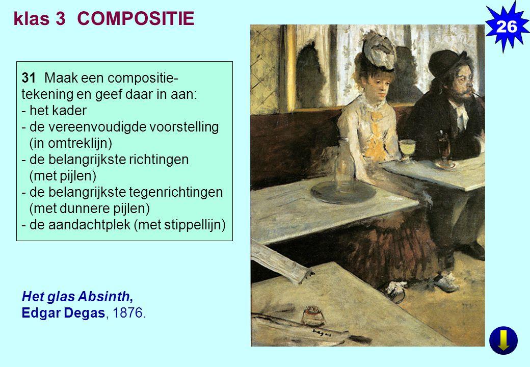 Het glas Absinth, Edgar Degas, 1876. klas 3 COMPOSITIE 31 Maak een compositie- tekening en geef daar in aan: - het kader - de vereenvoudigde voorstell