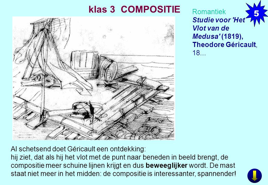 Romantiek Studie voor 'Het Vlot van de Medusa' (1819), Theodore Géricault, 18... Al schetsend doet Géricault een ontdekking: hij ziet, dat als hij het