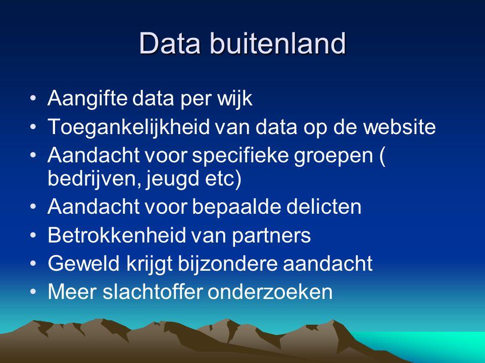 Data buitenland •Aangifte data per wijk •Toegankelijkheid van data op de website •Aandacht voor specifieke groepen ( bedrijven, jeugd etc) •Aandacht v