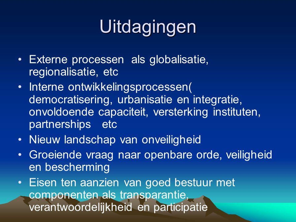 Uitdagingen •Externe processen als globalisatie, regionalisatie, etc •Interne ontwikkelingsprocessen( democratisering, urbanisatie en integratie, onvo