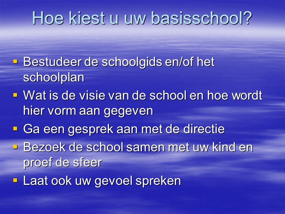 Hoe kiest u uw basisschool?  Bestudeer de schoolgids en/of het schoolplan  Wat is de visie van de school en hoe wordt hier vorm aan gegeven  Ga een