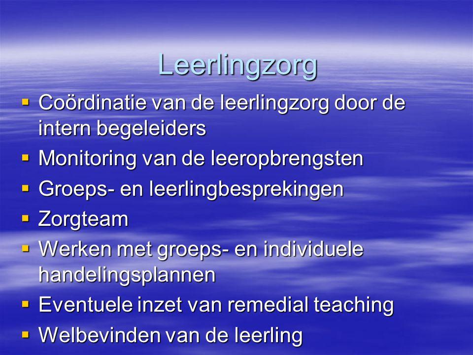 Leerlingzorg Leerlingzorg  Coördinatie van de leerlingzorg door de intern begeleiders  Monitoring van de leeropbrengsten  Groeps- en leerlingbespre