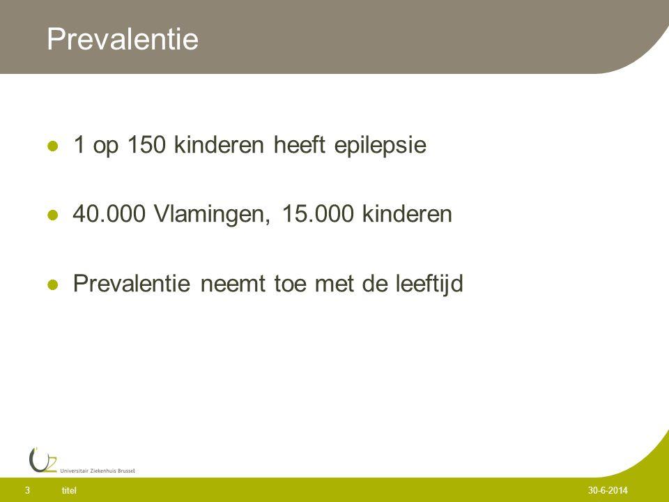 titel 3 30-6-2014 Prevalentie  1 op 150 kinderen heeft epilepsie  40.000 Vlamingen, 15.000 kinderen  Prevalentie neemt toe met de leeftijd