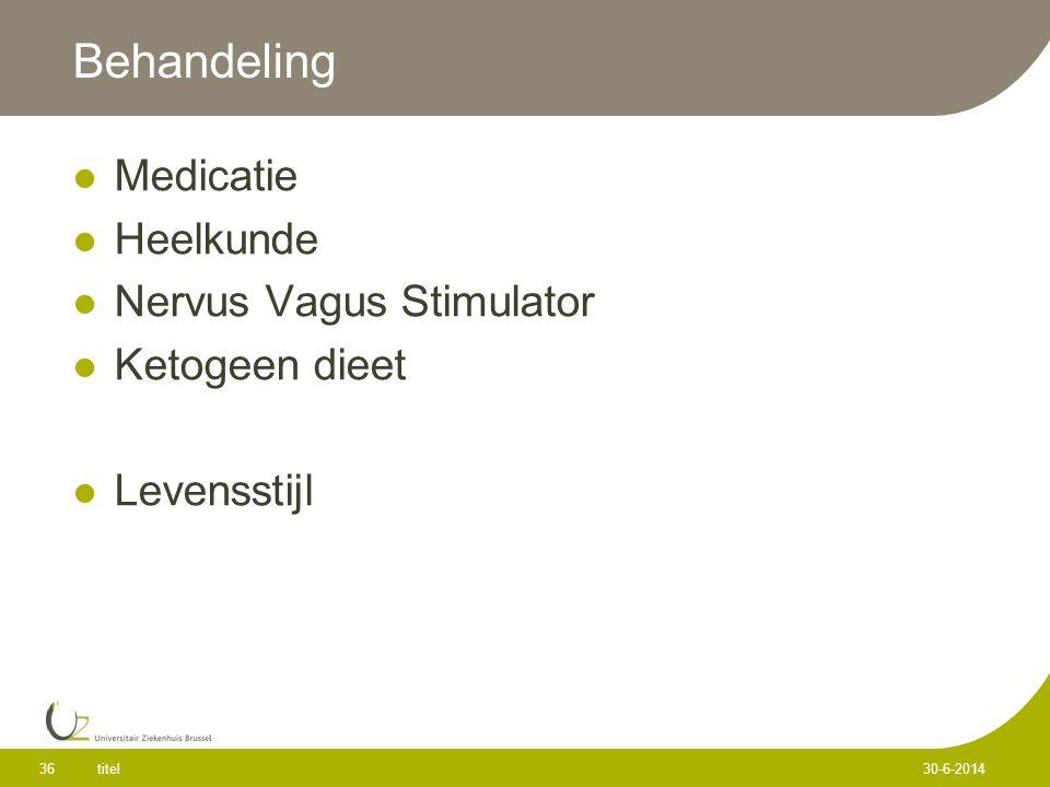 Behandeling  Medicatie  Heelkunde  Nervus Vagus Stimulator  Ketogeen dieet  Levensstijl titel 36 30-6-2014