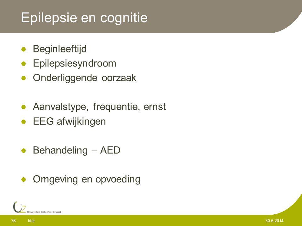 Epilepsie en cognitie  Beginleeftijd  Epilepsiesyndroom  Onderliggende oorzaak  Aanvalstype, frequentie, ernst  EEG afwijkingen  Behandeling – AED  Omgeving en opvoeding titel 38 30-6-2014