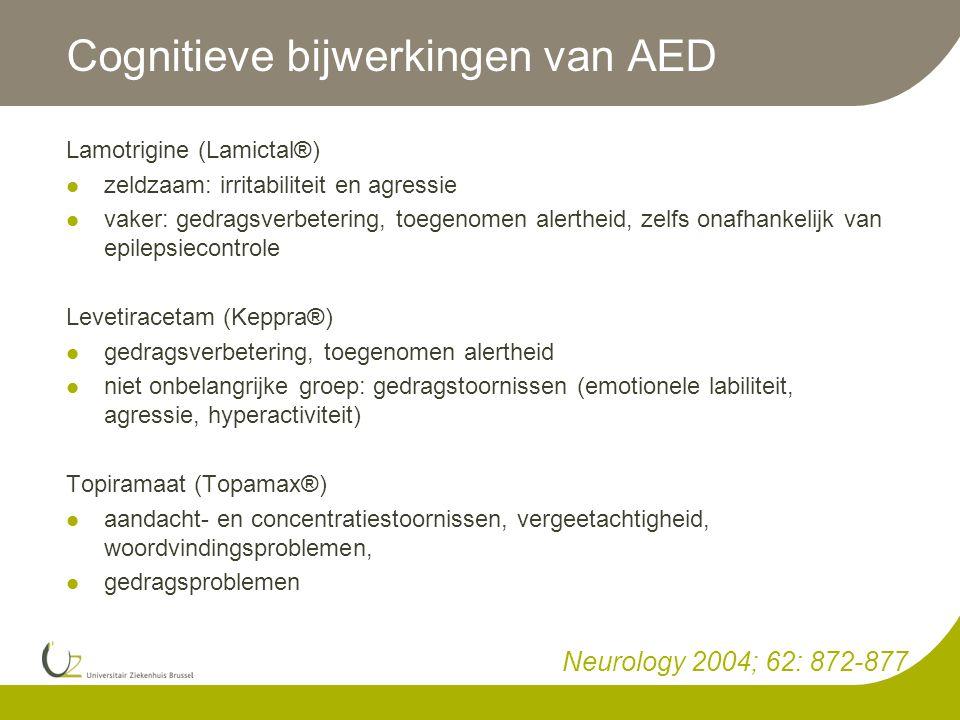 Cognitieve bijwerkingen van AED Lamotrigine (Lamictal®)  zeldzaam: irritabiliteit en agressie  vaker: gedragsverbetering, toegenomen alertheid, zelf