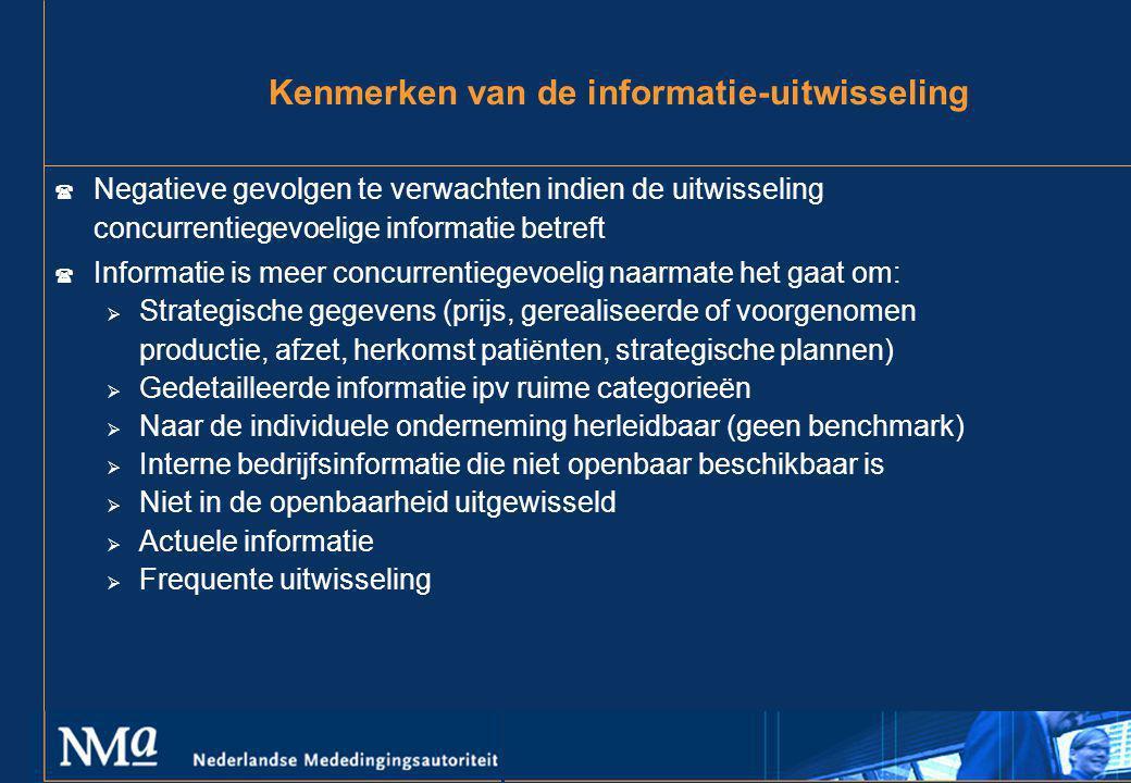 Kenmerken van de informatie-uitwisseling ( Negatieve gevolgen te verwachten indien de uitwisseling concurrentiegevoelige informatie betreft ( Informat