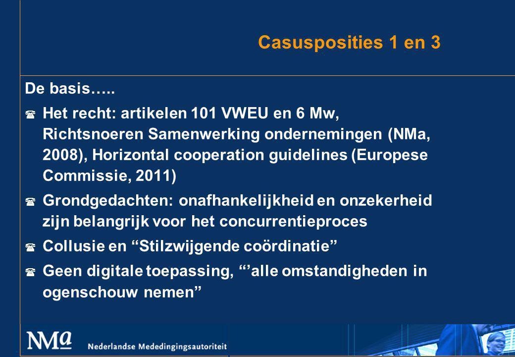 Casusposities 1 en 3 De basis…..  Het recht: artikelen 101 VWEU en 6 Mw, Richtsnoeren Samenwerking ondernemingen (NMa, 2008), Horizontal cooperation