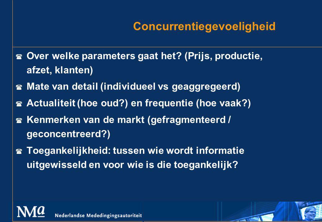 Concurrentiegevoeligheid  Over welke parameters gaat het? (Prijs, productie, afzet, klanten)  Mate van detail (individueel vs geaggregeerd)  Actual