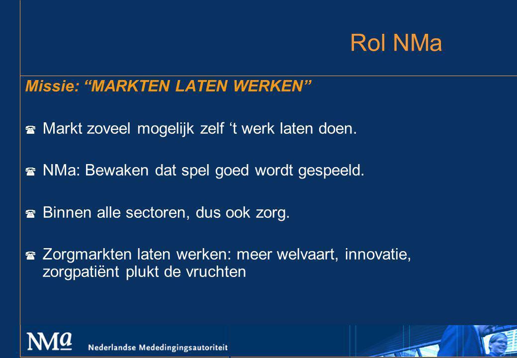 """Rol NMa Missie: """"MARKTEN LATEN WERKEN"""" ( Markt zoveel mogelijk zelf 't werk laten doen. ( NMa: Bewaken dat spel goed wordt gespeeld. ( Binnen alle sec"""