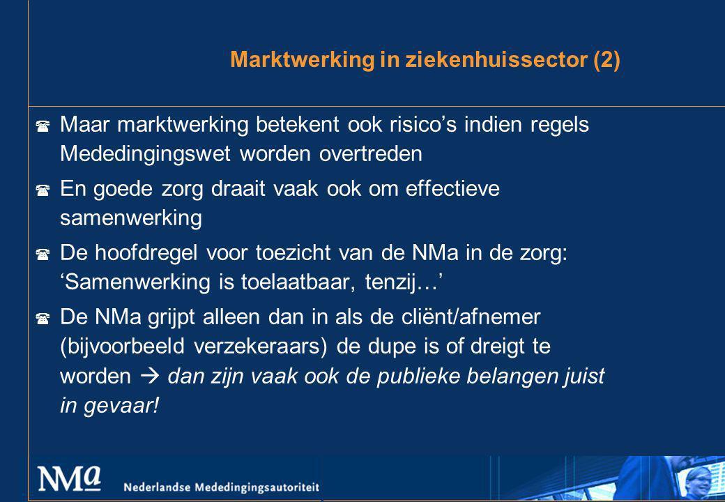 Marktwerking in ziekenhuissector (2) ( Maar marktwerking betekent ook risico's indien regels Mededingingswet worden overtreden ( En goede zorg draait