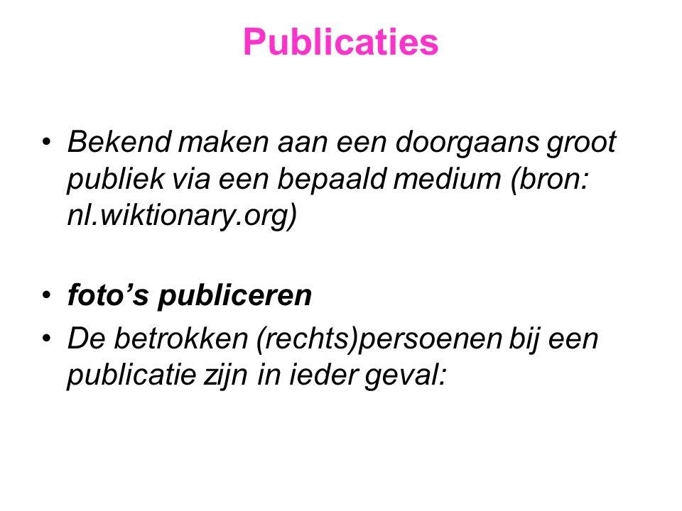 Publicaties •Bekend maken aan een doorgaans groot publiek via een bepaald medium (bron: nl.wiktionary.org) •foto's publiceren •De betrokken (rechts)pe