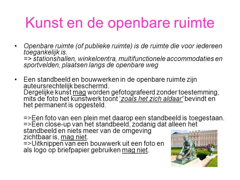 Kunst en de openbare ruimte •Openbare ruimte (of publieke ruimte) is de ruimte die voor iedereen toegankelijk is. => stationshallen, winkelcentra, mul