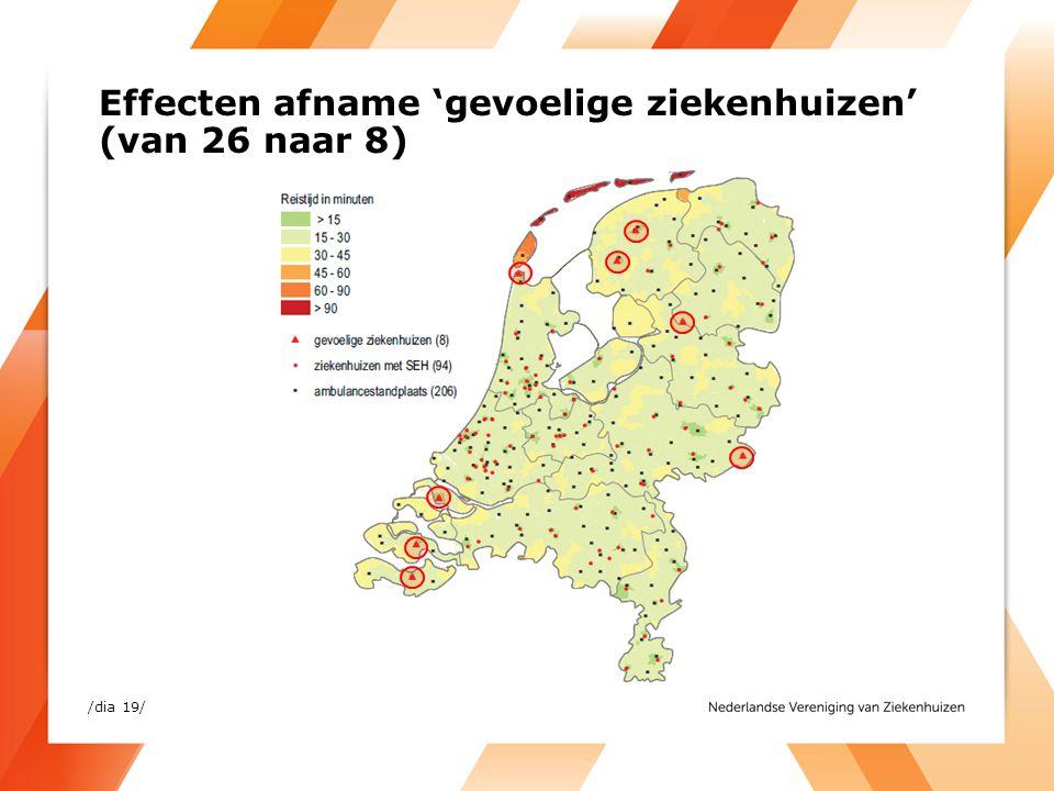 Effecten afname 'gevoelige ziekenhuizen' (van 26 naar 8) /dia 19/