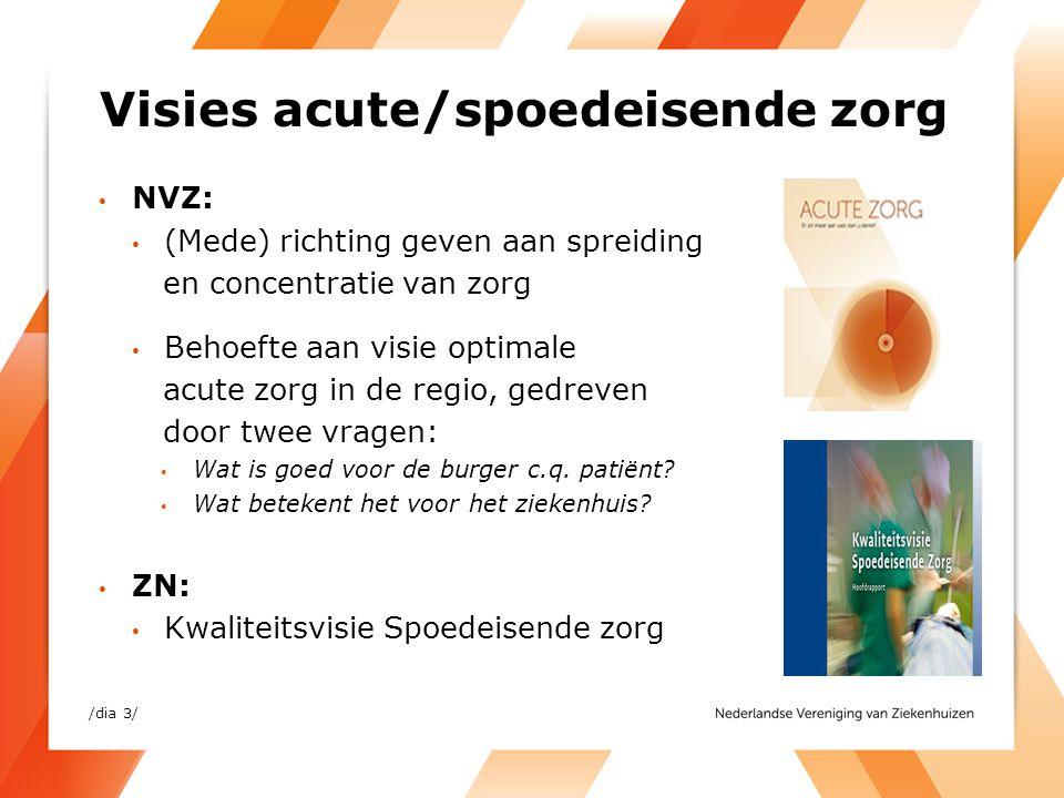 Visies acute/spoedeisende zorg • NVZ: • (Mede) richting geven aan spreiding en concentratie van zorg • Behoefte aan visie optimale acute zorg in de re