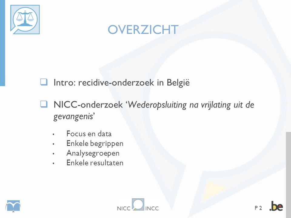 P 2 OVERZICHT  Intro: recidive-onderzoek in België  NICC-onderzoek 'Wederopsluiting na vrijlating uit de gevangenis' • Focus en data • Enkele begrip