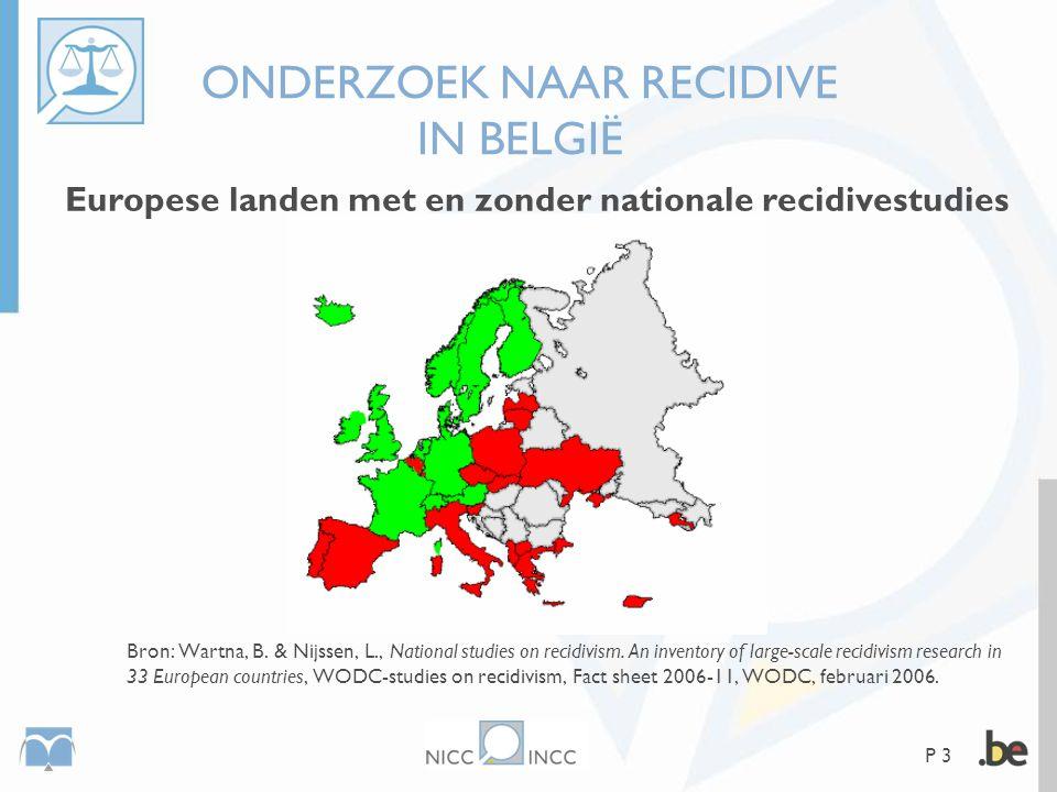 P 3 ONDERZOEK NAAR RECIDIVE IN BELGIË Europese landen met en zonder nationale recidivestudies Bron: Wartna, B. & Nijssen, L., National studies on reci
