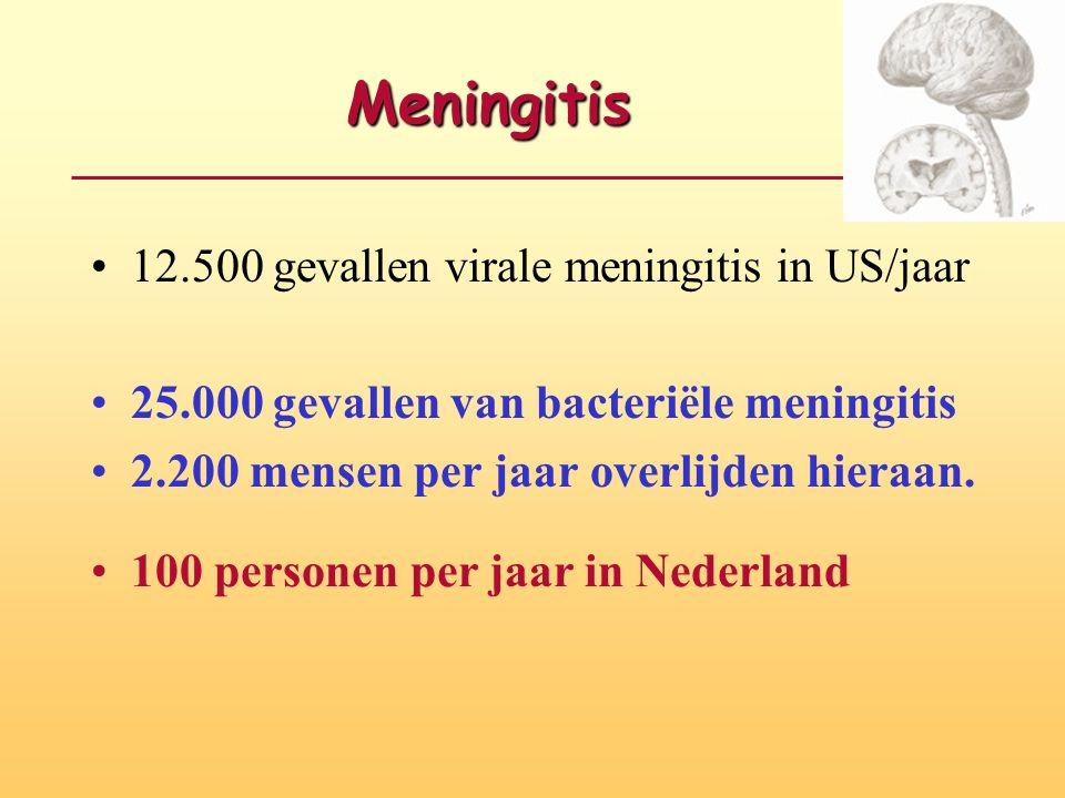 Meningitis •12.500 gevallen virale meningitis in US/jaar •25.000 gevallen van bacteriële meningitis •2.200 mensen per jaar overlijden hieraan. • 100 p