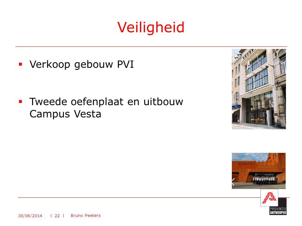  Verkoop gebouw PVI  Tweede oefenplaat en uitbouw Campus Vesta Veiligheid 30/06/2014 Bruno Peeters l 22 l
