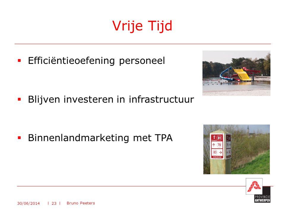  Efficiëntieoefening personeel  Blijven investeren in infrastructuur  Binnenlandmarketing met TPA Vrije Tijd 30/06/2014 Bruno Peeters l 23 l