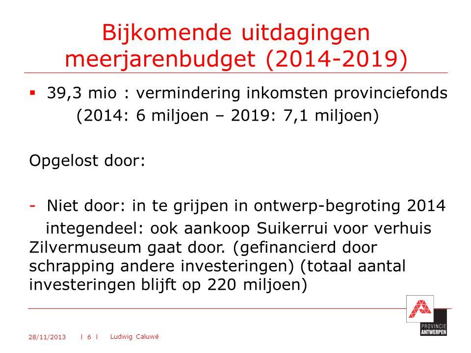 39,3 mio: vermindering inkomsten provinciefonds (2014: 6 miljoen – 2019: 7,1 miljoen) Opgelost door: -Niet door: in te grijpen in ontwerp-begroting 2014 integendeel: ook aankoop Suikerrui voor verhuis Zilvermuseum gaat door.