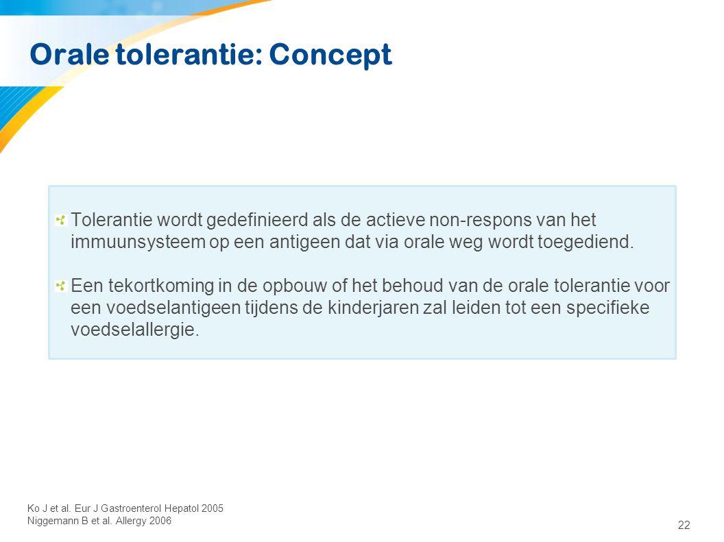 22 Orale tolerantie: Concept Tolerantie wordt gedefinieerd als de actieve non-respons van het immuunsysteem op een antigeen dat via orale weg wordt to