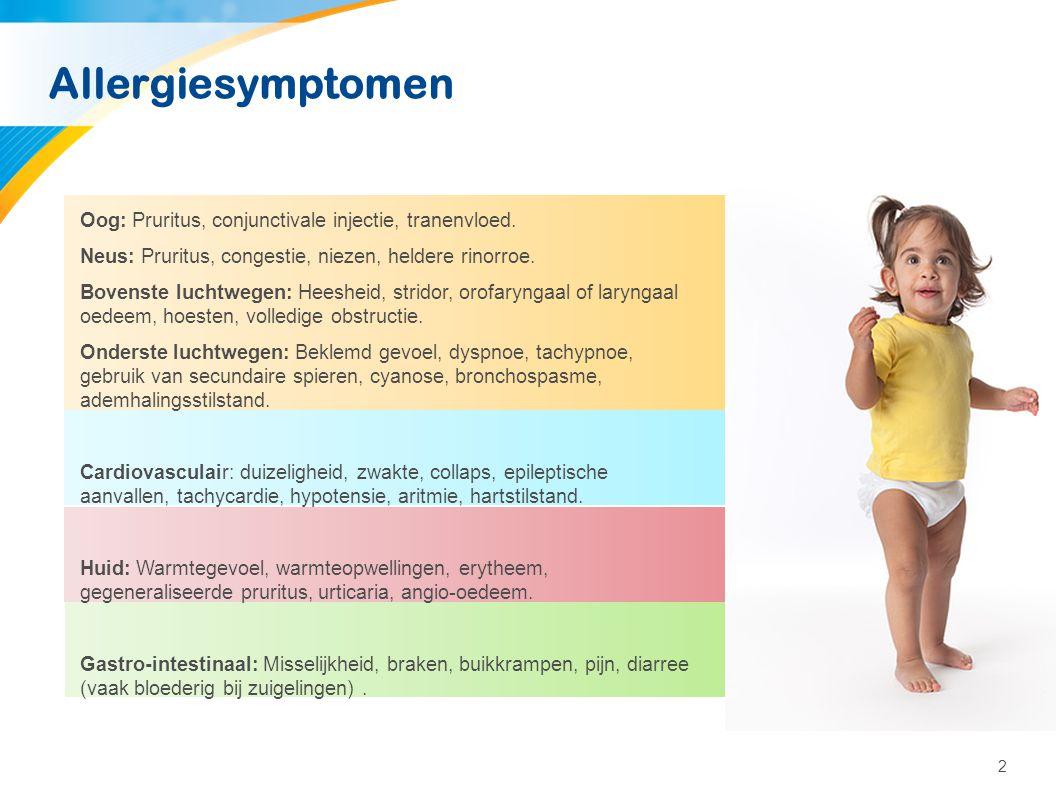 2 Allergiesymptomen Oog: Pruritus, conjunctivale injectie, tranenvloed. Neus: Pruritus, congestie, niezen, heldere rinorroe. Bovenste luchtwegen: Hees