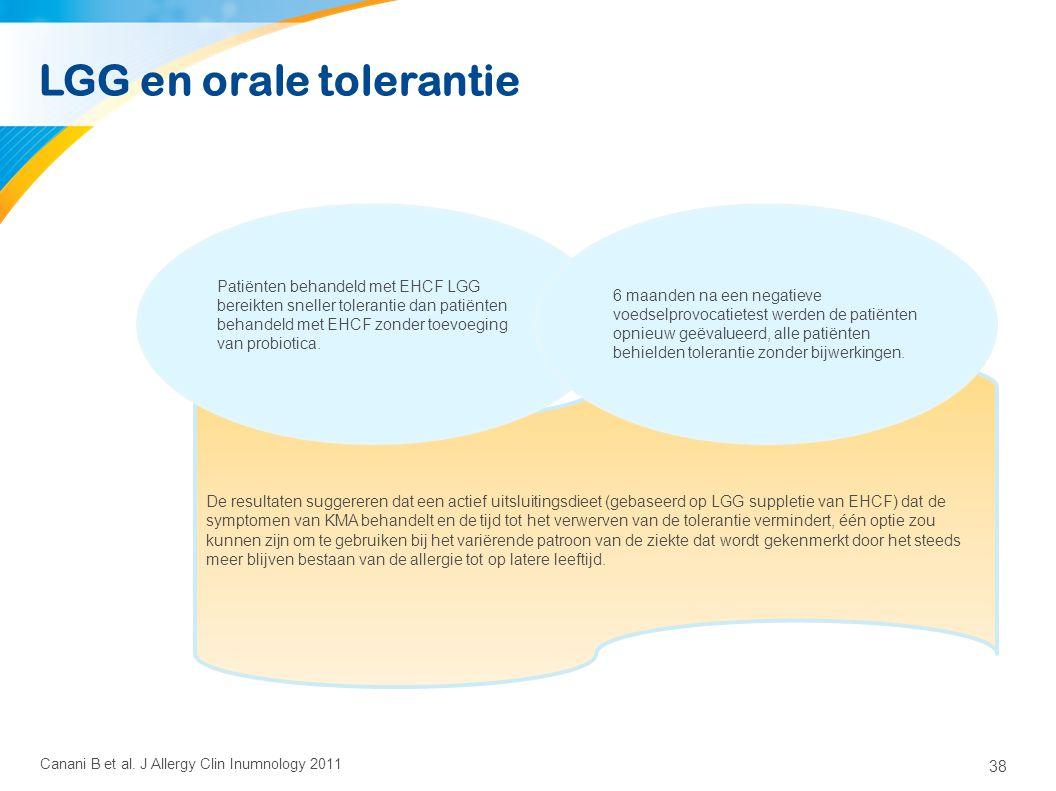 38 De resultaten suggereren dat een actief uitsluitingsdieet (gebaseerd op LGG suppletie van EHCF) dat de symptomen van KMA behandelt en de tijd tot h