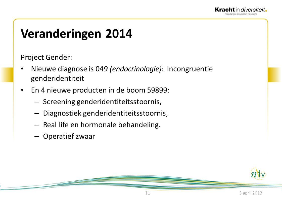 Veranderingen 2014 Project Gender: • Nieuwe diagnose is 049 (endocrinologie): Incongruentie genderidentiteit • En 4 nieuwe producten in de boom 59899: