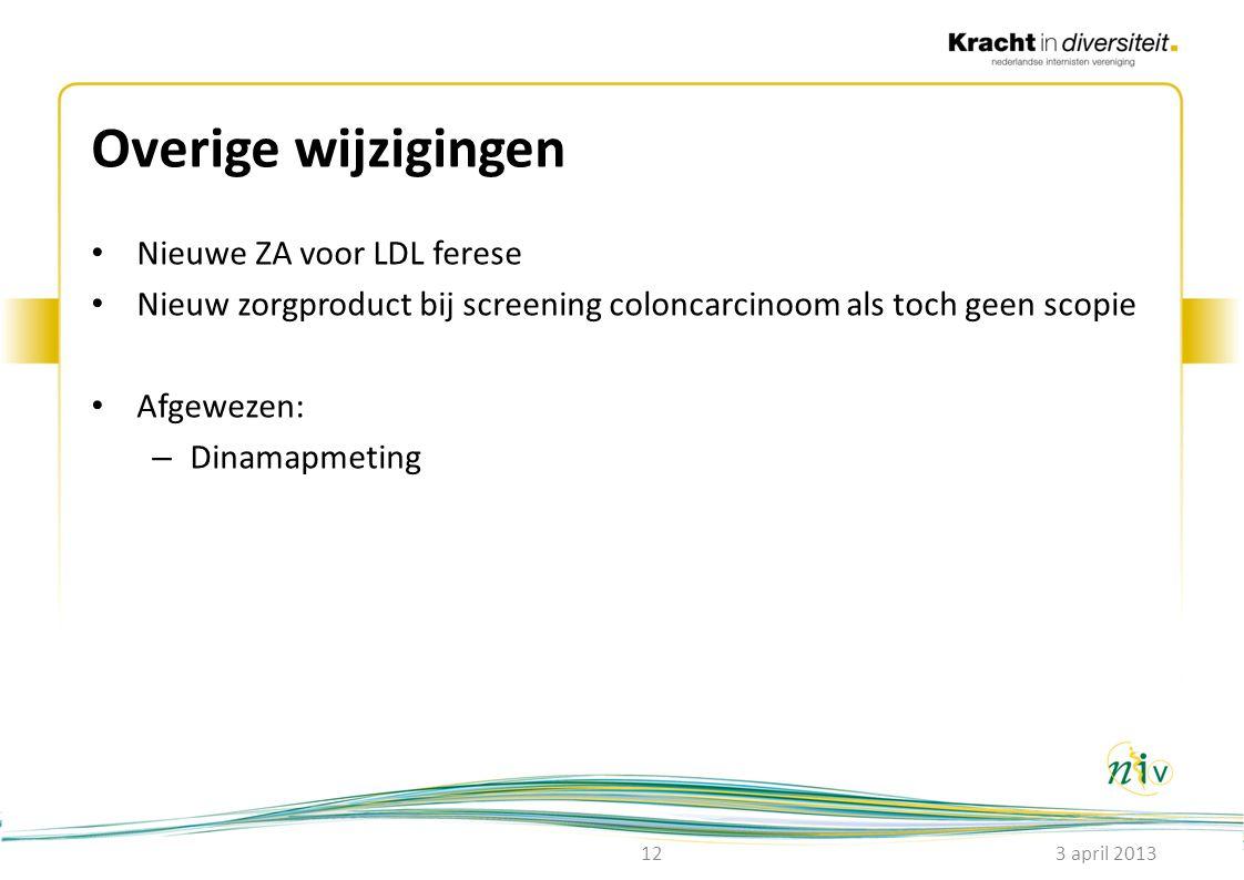 Overige wijzigingen • Nieuwe ZA voor LDL ferese • Nieuw zorgproduct bij screening coloncarcinoom als toch geen scopie • Afgewezen: – Dinamapmeting 3 a