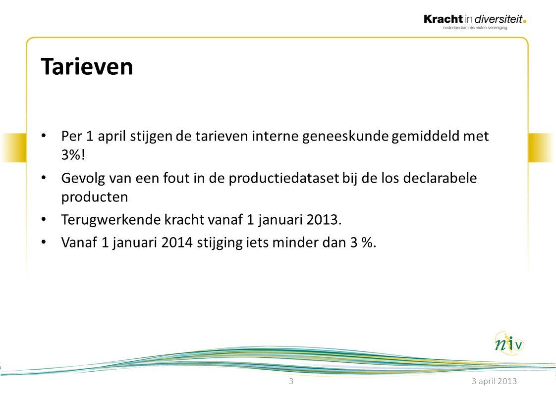 Tarieven • Per 1 april stijgen de tarieven interne geneeskunde gemiddeld met 3%! • Gevolg van een fout in de productiedataset bij de los declarabele p