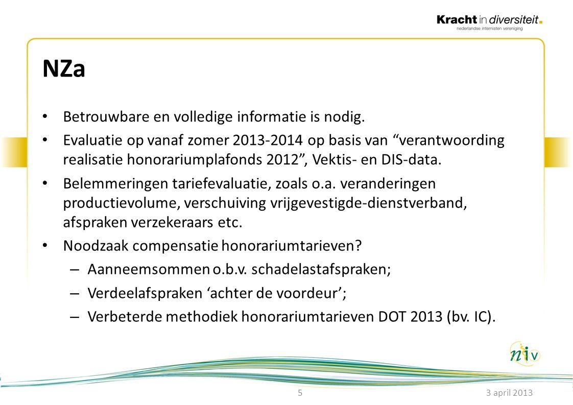 """NZa • Betrouwbare en volledige informatie is nodig. • Evaluatie op vanaf zomer 2013-2014 op basis van """"verantwoording realisatie honorariumplafonds 20"""