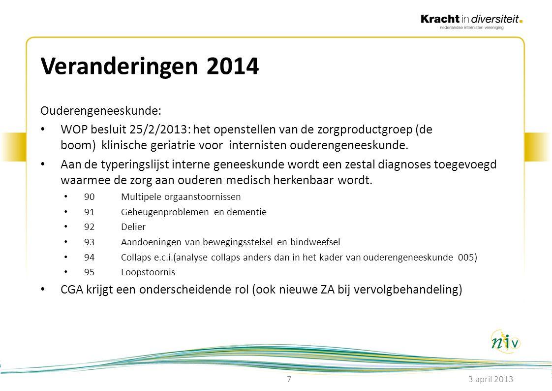 Veranderingen 2014 Ouderengeneeskunde: • WOP besluit 25/2/2013: het openstellen van de zorgproductgroep (de boom) klinische geriatrie voor internisten