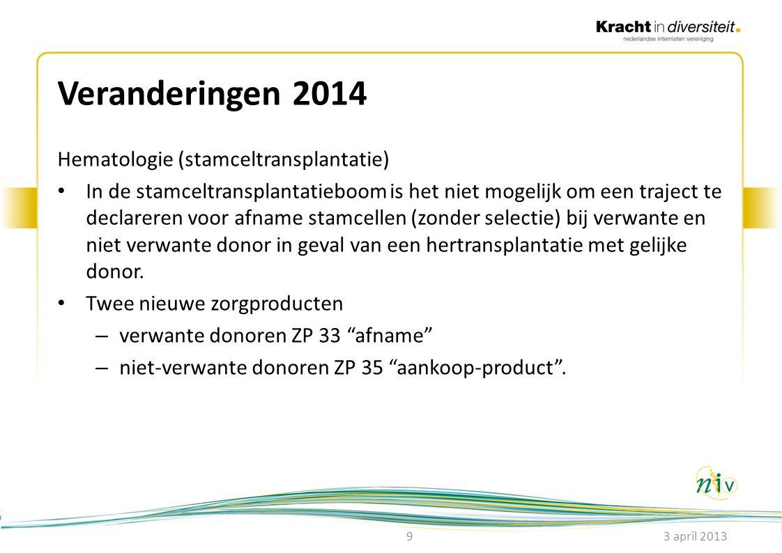 Veranderingen 2014 Hematologie (stamceltransplantatie) • In de stamceltransplantatieboom is het niet mogelijk om een traject te declareren voor afname