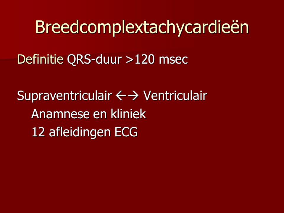 Breedcomplextachycardieën Definitie QRS-duur >120 msec Supraventriculair  Ventriculair Anamnese en kliniek 12 afleidingen ECG