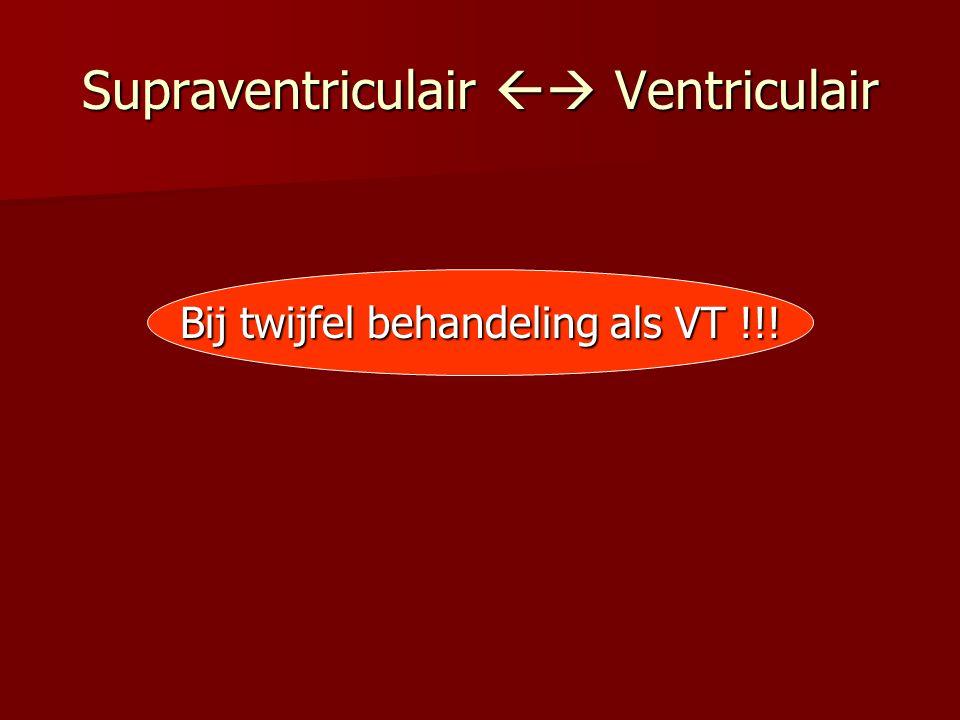 Supraventriculair  Ventriculair Bij twijfel behandeling als VT !!!