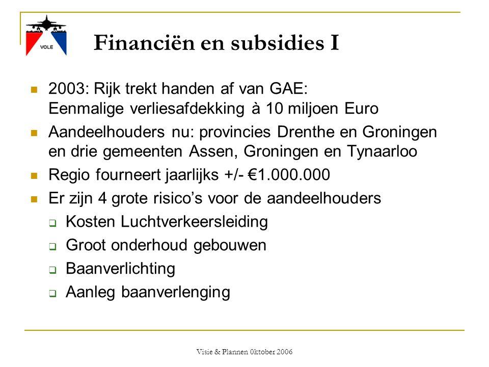 Visie & Plannen 0ktober 2006 Financiën en subsidies I  2003: Rijk trekt handen af van GAE: Eenmalige verliesafdekking à 10 miljoen Euro  Aandeelhoud