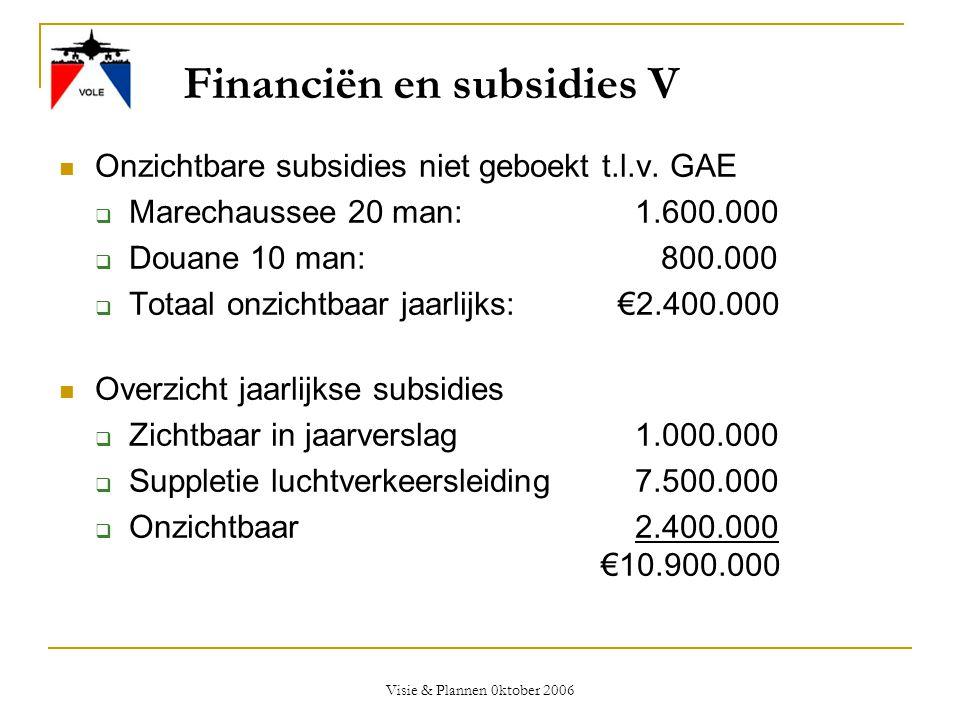 Visie & Plannen 0ktober 2006 Financiën en subsidies V  Onzichtbare subsidies niet geboekt t.l.v. GAE  Marechaussee 20 man: 1.600.000  Douane 10 man