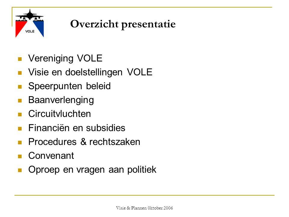 Visie & Plannen 0ktober 2006 Overzicht presentatie  Vereniging VOLE  Visie en doelstellingen VOLE  Speerpunten beleid  Baanverlenging  Circuitvlu