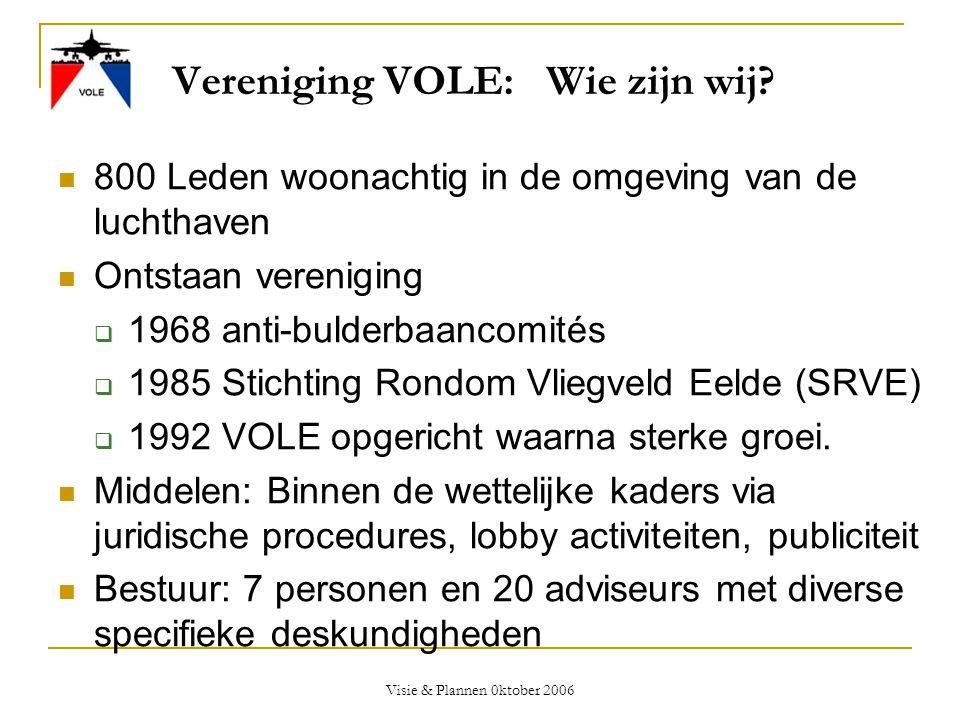 Visie & Plannen 0ktober 2006 Vereniging VOLE: Wie zijn wij?  800 Leden woonachtig in de omgeving van de luchthaven  Ontstaan vereniging  1968 anti-