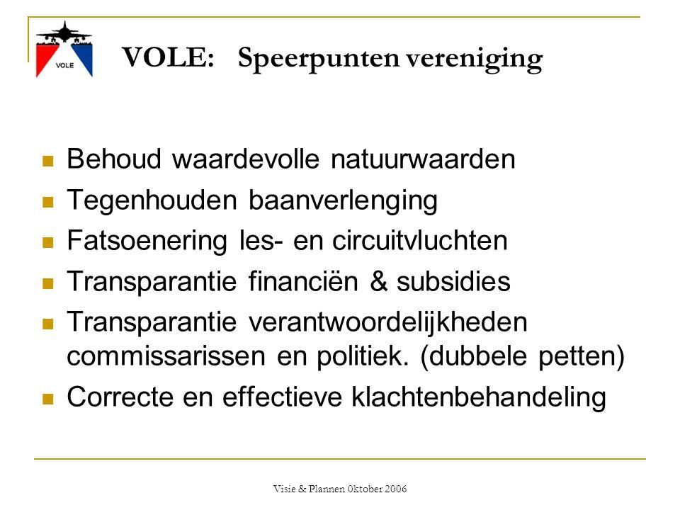 Visie & Plannen 0ktober 2006 VOLE: Speerpunten vereniging  Behoud waardevolle natuurwaarden  Tegenhouden baanverlenging  Fatsoenering les- en circu